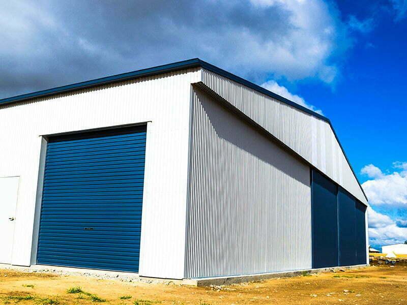 Aircraft Hangar with Metal Sliding Doors